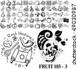 Fruit set of black sketch. Part 103-3. Isolated groups and layers. - stock photo