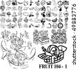 Fruit set of black sketch. Part 104-1. Isolated groups and layers. - stock vector