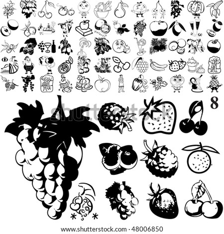 Fruit set of black sketch. Part 101-8. Isolated groups and layers. - stock vector