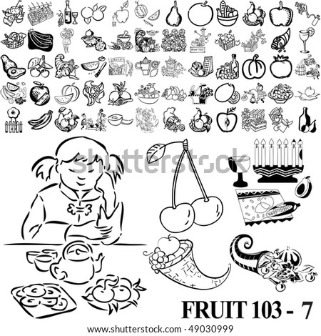 Fruit set of black sketch. Part 103-7. Isolated groups and layers.