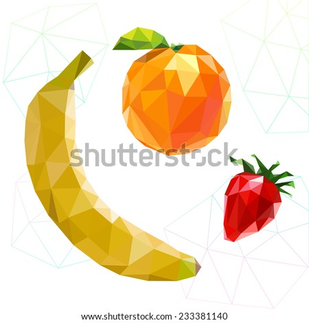 Fruit set of polygons . Banana, orange, strawberry. Vector illustration - stock vector