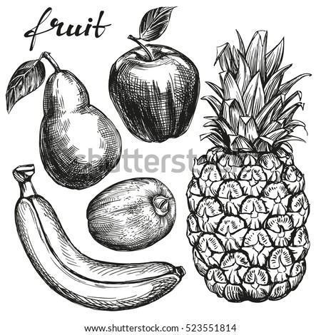 fruit set pear, apple, banana, kiwi, pineapple hand drawn vector illustration realistic sketch
