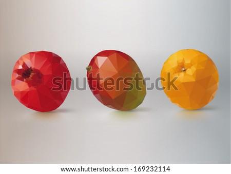 Fruit set: pomegranate, mango,orange. Low-poly triangular style  - stock vector