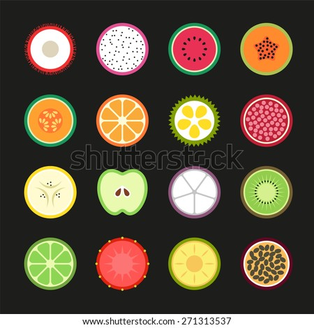 Fruit Slice Flat, Vector Design illustration