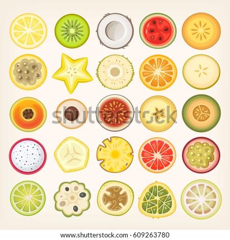 Circle Shaped Food Sliced Fruit St...