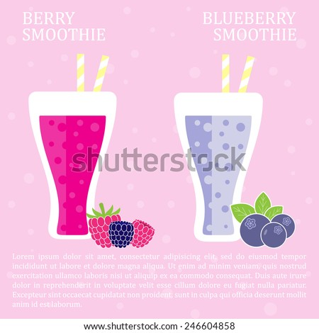 Fruit smoothie - berries smoothies. Menu element for cafe or restaurant with energetic fresh drink made in flat style. Fresh juice for healthy life. Organic raw shake. Vector illustration. - stock vector