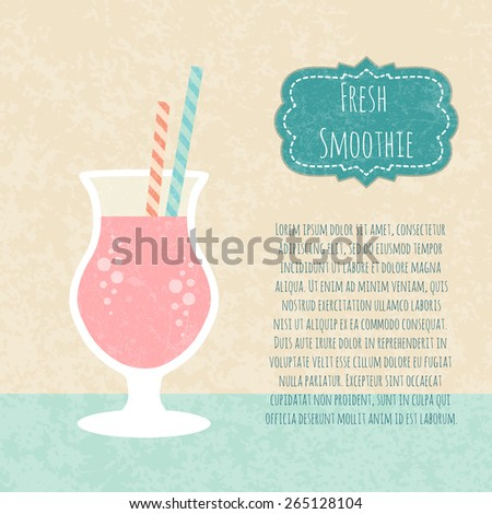 Fruit smoothie. Healthy life concept. Fresh juice made in flat style. Organic raw shake. Vector illustration. - stock vector