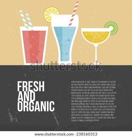 Fruit smoothie vector concept. Menu element for cafe or restaurant with energetic fresh drink made in flat style. Fresh juice for healthy life. Organic raw shake.