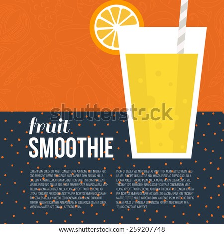 Fruit smoothie vector concept. Menu element for cafe or restaurant with energetic fresh drink made in flat style. Fresh juice for healthy life. Organic raw shake.  - stock vector