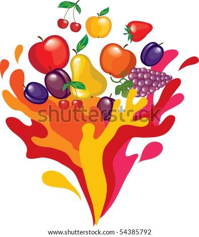 fruit splash - stock vector
