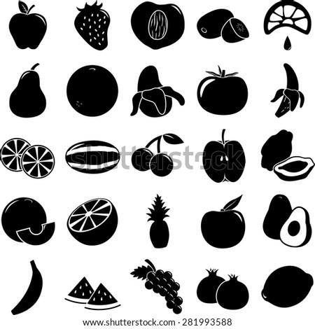 fruit symbols set - stock vector
