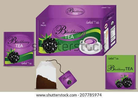 fruit tea packaging,vector fruits label,vector fruit tea label,vector fruit tea tag,organic tea,editable vector,design for food packaging,package with herbal tea,tea bag,blackberry tea - stock vector