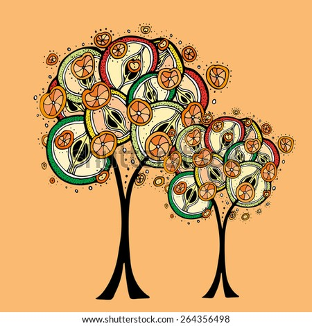 fruit tree, vector illustration