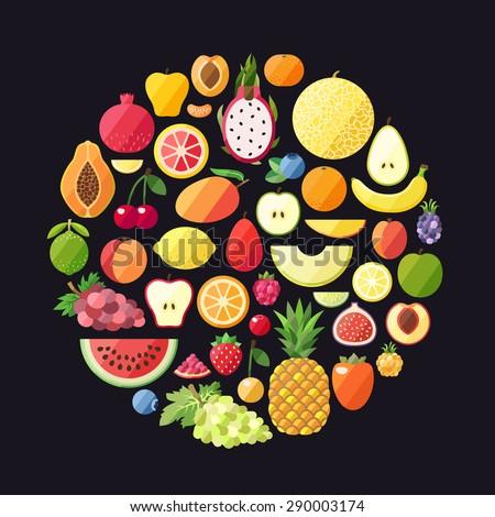 Fruit vector circle background. Modern flat design. Healthy food background. Big fruit set. - stock vector