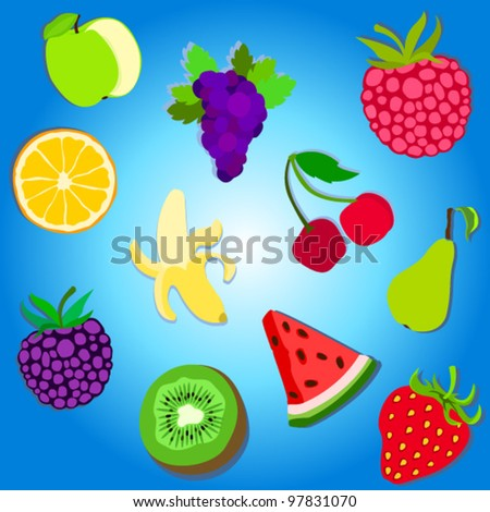 Fruit vector collection, set of 11 simplified icons