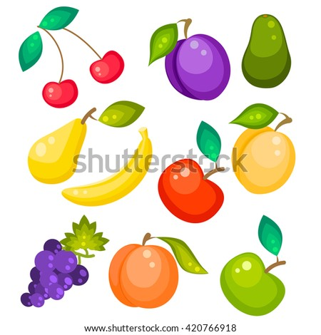Fruit vector set isolated on white. Pear, banana grapes, peach, avocado and apricot. Sweet fruits illustration. - stock vector