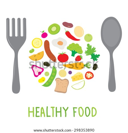 Fruit Vegetable Healthy Food Cook Ingredient Nutrient cute cartoon vector - stock vector