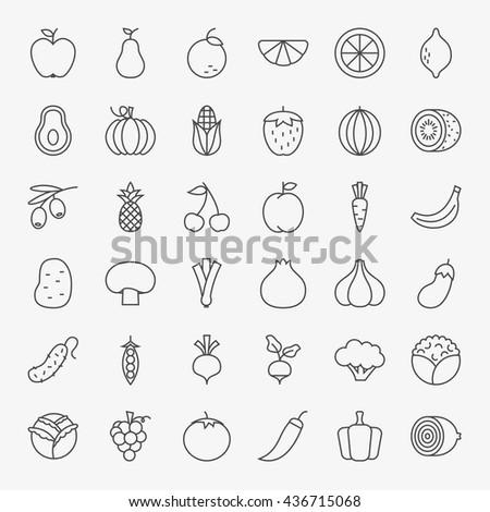 Fruit Vegetable Line Art Design Icons Big Set. Vector Set of Modern Thin Outline Fresh Healthy Food Symbols. - stock vector