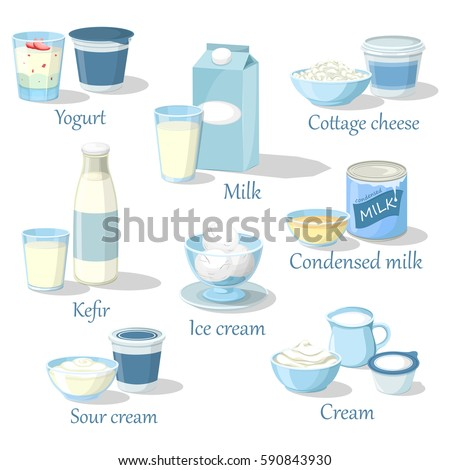 Fruit yogurt and kefir, milk product in carton pack and cottage cheese food, whipped sour cream and ice cream, condensed milk. Natural and organic healthy nutrition, farmer and grocery theme