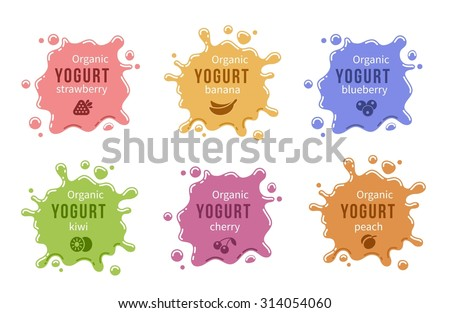 Fruit yogurt logos set. Milk product food strawberry cherry and peach, banana and blueberry. Vector illustration - stock vector