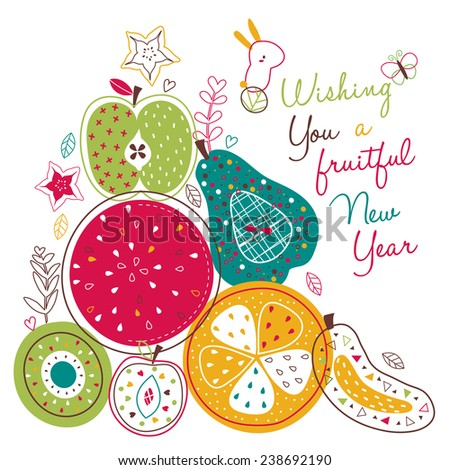 fruitful new year illustration - stock vector