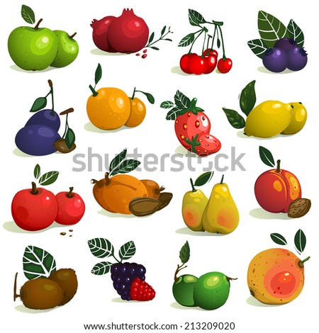 Fruits and Berries Collection. Big set of ripe fruits. Vector EPS8 illustration. - stock vector