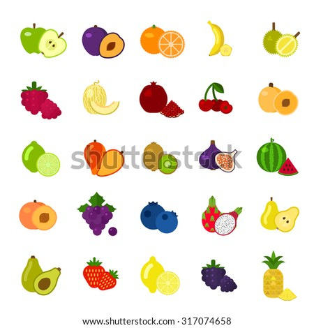 Fruits and berries Icons set on flat style at White Background. Slices of fruit. Healthy Food. - stock vector