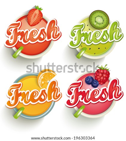 Fruits and berries  juices with inscription fresh isolated on white background. Vector.  - stock vector