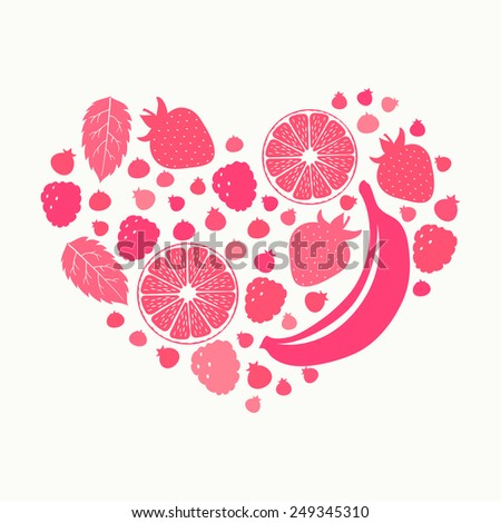 Fruits and berries silhouettes in heart shape. Healthy lifestyle - stock vector