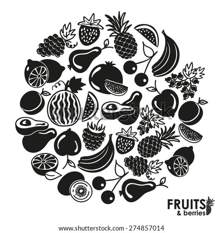 Fruits and berries vector icons black on a white background