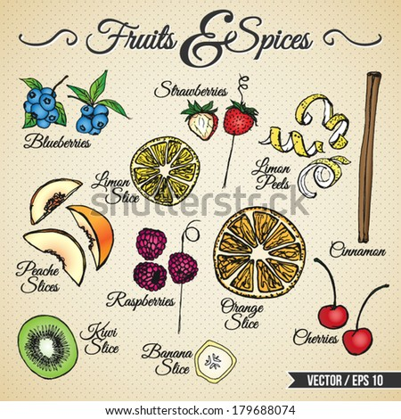 Fruits and spices drawings set for different usage - stock vector