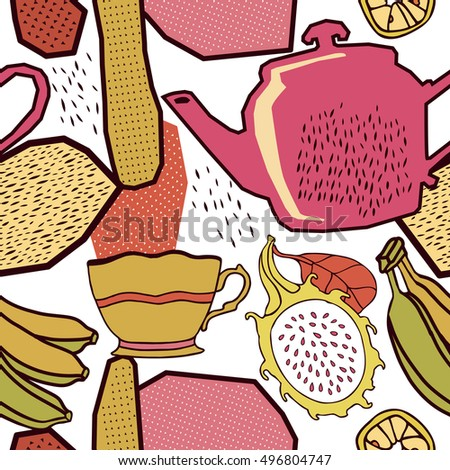Fruits and tea, seamless pattern.
