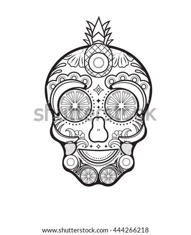 Fruits and vegetable sugar skull illustration - stock vector