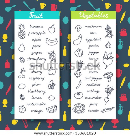 Fruits and vegetables banners. Template for cooking, restaurant menu and vegetarian food on the background pattern with utensils. Organic healthy doodles food. EPS 10 - stock vector