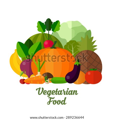 Fruits and vegetables. Colorful template for cooking, restaurant menu and vegetarian food