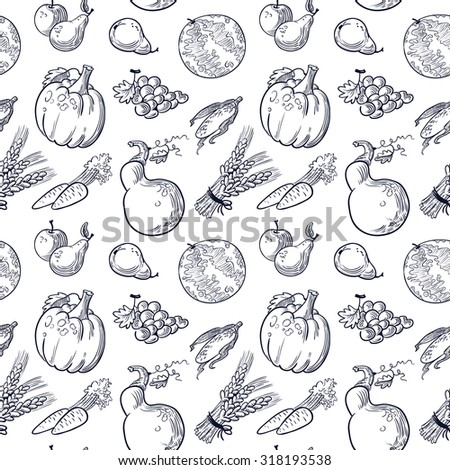 Fruits and vegetables doodle seamless pattern - stock vector