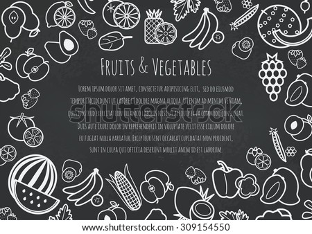 Fruits and vegetables frame for article or recipe, vector illustration - stock vector