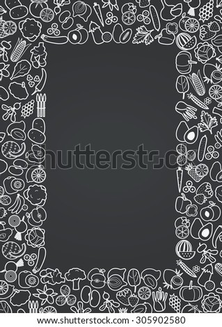 Fruits and vegetables frame for menu or recipe, vector illustration - stock vector
