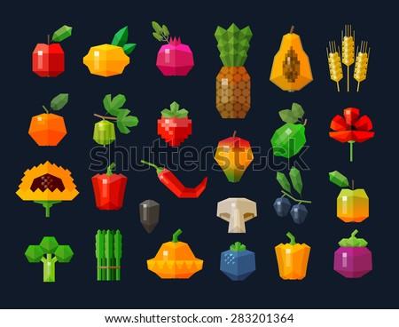 fruits and vegetables, fresh food icons set. collection of elements - Apple, lemon, pomegranate, pineapple, wheat, orange, berry, lime, poppy, sunflower, pepper, mushroom, olives, asparagus - stock vector