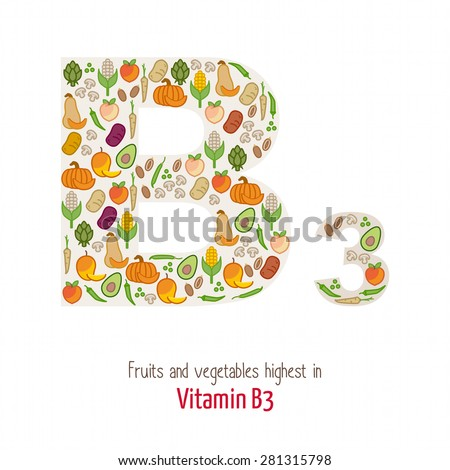 Fruits and vegetables highest in vitamin B3 composing B3 letter shape, nutrition and healthy eating concept - stock vector