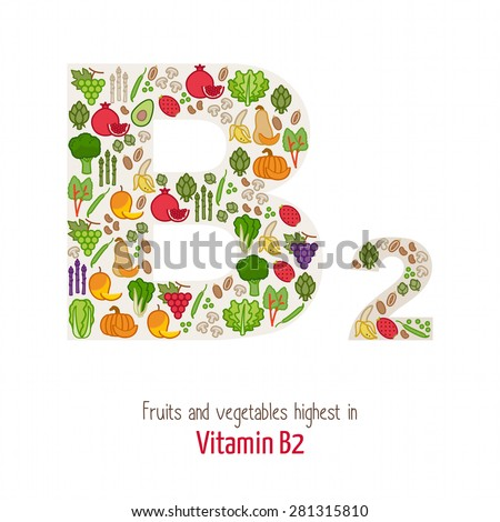 Fruits and vegetables highest in vitamin B2 composing B2 letter shape, nutrition and healthy eating concept - stock vector