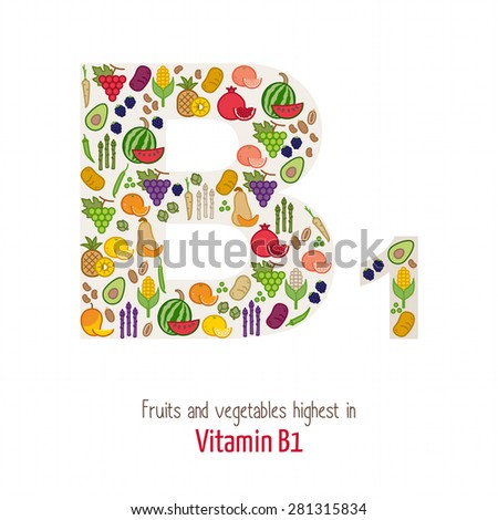 Fruits and vegetables highest in vitamin B1 composing B1 letter shape, nutrition and healthy eating concept - stock vector