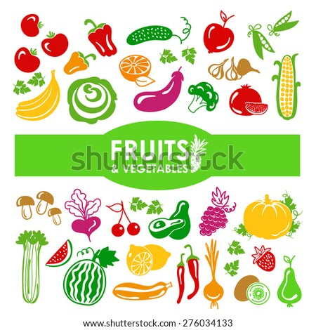 Fruits and vegetables icons on a white background