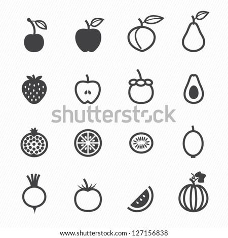 Fruits and Vegetables Icons with White Background - stock vector