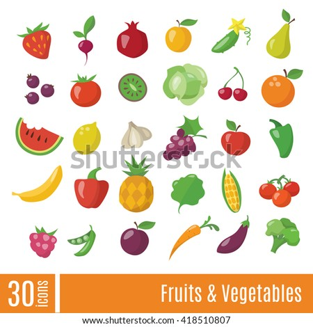 Fruits and Vegetables infographic icons set. Healthy food vector icons.