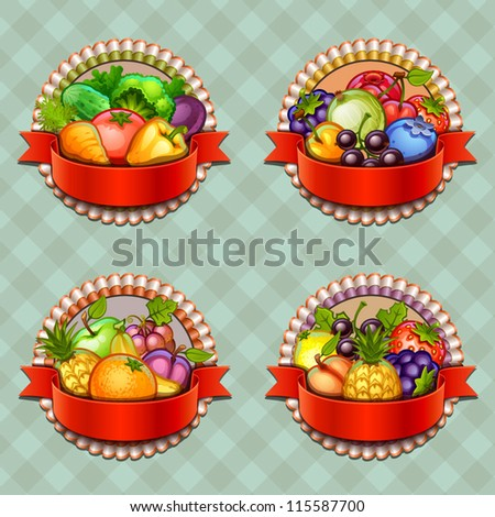 Fruits and vegetables labels set - stock vector