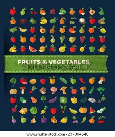 Fruits and vegetables. Organic food icons vector illustration - stock vector