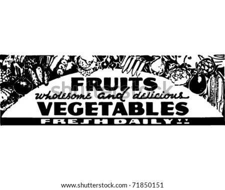 Fruits And Vegetables - Retro Ad Art Banner - stock vector