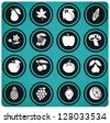 fruits and vegetables set . fruits icons. - stock vector