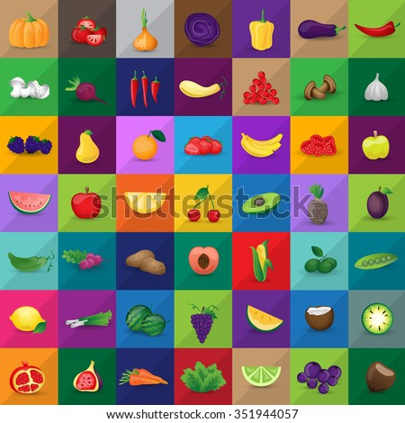 Fruits And Vegetables Set - Isolated On Mosaic Background - Vector Illustration, Graphic Design. For Web, Websites, Print, Presentation Templates, Mobile Applications And Promotional Materials